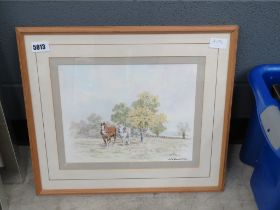 Watercolour of a plowing team