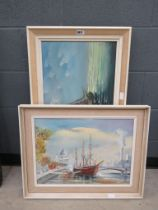 5019 Two 1980s oil on canvas pictures depicting maritime scenes by Lucas and V. Hymans