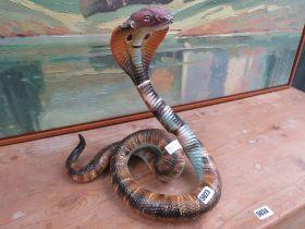 Italian ceramic sculpture coiled cobra