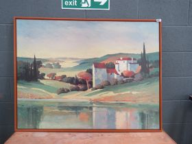 Continental over lacquered print of a landscape and buildings