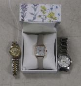 Laura Ashley watch together with a Next stainless steel strap wristwatch and another 2 tone