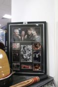Framed and glazed set of pictures of Ronnie Wood & The Rolling Stones bearing Ronnie Wood's