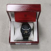 2063 - Stockwell gents black face dial metal strap watch with case