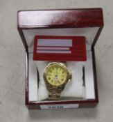 2062 - Stockwell gents automatic wristwatch in yellow stainless steel finish with box