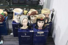 5 Royal Doulton character jugs with boxes to include Anne Boleyn, Star Crossed Lovers Anthony &