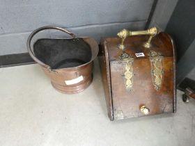 Victorian brass mounted coal scuttle and a copper coal scuttle