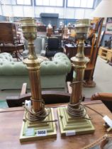 Pair of brass finished Corinthian table lamps
