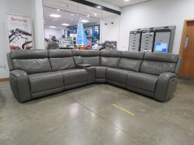 Grey faux leather adjustable modular corner sofa