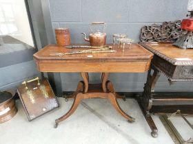 19th century walnut and mahogany folding card table
