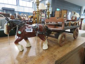 Ceramic shire horse and cart