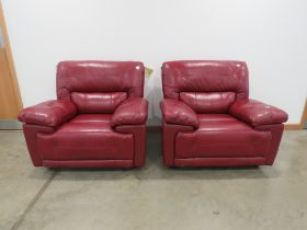 Pair of SCS red leather effect armchairs
