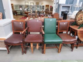 Pair of Victorian oak dining chairs, a 1950's oak carver chair and a green backed chair