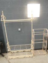 Grey metal scroll work hall stand and matching shelf