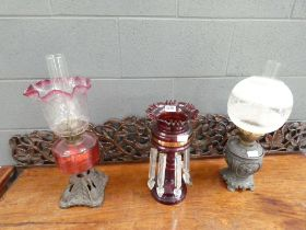 2 oil lamps and a lustre Fair condition, no obvious damage. Never been electrified