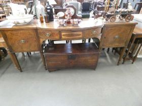 19th Century mahogany bow fronted sideboard with square tapering legs