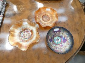 3 pieces of Carnival glass
