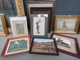 Group of artwork including a dry point etching of a matador, a pastel of a forest, Venetian print,