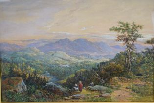 Continental School, late 19th/early 20th century, Figures in a mountainous landscape,