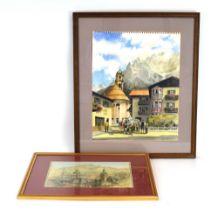 Bernard West, RIBA (20th Century), 'Mittenwald, Germany', signed, watercolour, 50 x 40 cm,