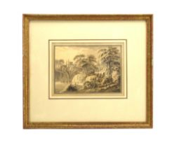 Attributed to Amos Green (1735-1807), A group fishing by a bridge, unsigned, sepia watercolour,