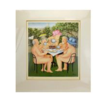 Beryl Cook (1926-2008), 'Tea in the Garden', signed and numbered 424/650, limited edition print,