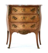 An early 20th century Danish rosewood, kingwood and marquetry bombe commode,