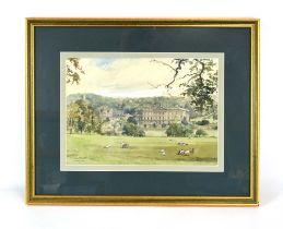 Bernard West, RIBA (20th Century), 'Chatsworth House, Derbyshire', signed and dated '50,