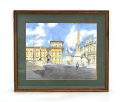 Bernard West, RIBA (20th Century), 'Rome', signed and dated 1953 watercolour,