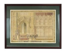 Bernard West, RIBA (20th Century), 'Gothic Composition', signed and dated '50, watercolour and ink,