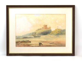George Pelham Dixon (1859-1898), Bamburgh Castle from the shore, signed and dated 1897, watercolour,
