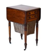A Victorian mahogany sewing table, the drop leaf surface over two drawers and a basket,
