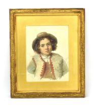 19th Century School, A head and shoulders portrait of a boy wearing a cap,