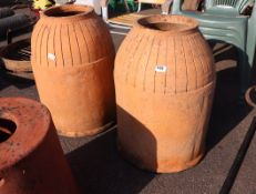 Pair of large terracotta rhubarb forcers (no lids)