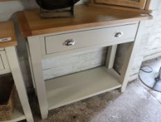 (2049) Off-white single drawer side table with oak surface