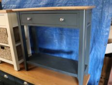 Dark blue single drawer side table with oak surface