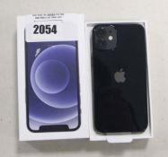 Apple iPhone 12 Mini in black, 64gb model A2399 with box