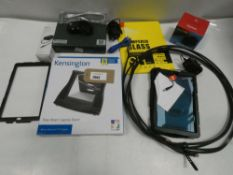 Bag containing Swan DVR unit, Microsoft Surface PSU, tablet cases/covers, Genki Covert Dock for