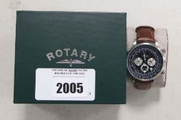 Gents Rotary brown leather strap chronograph wristwatch with box