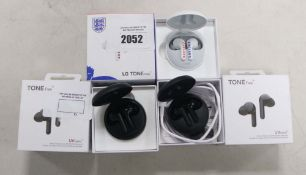 3 boxed sets of LG Tone Free wireless earbuds