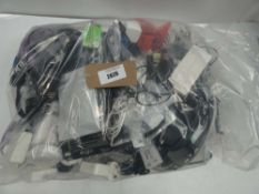 Bag of various cables, IT and apple chargers