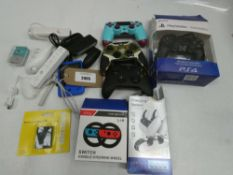 Bag containing gaming accessories for PS4, Xbox, Wii, etc
