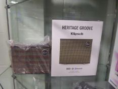 Heritage Groove bluetooth speaker by Klipsch with box
