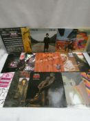 Box containing LP and 45 records to include AC-DC, Black Sabbath, Elton John, Chemical Brothers