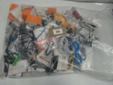 Bag containing quantity of mobile phone accessories; leads, adapters, chargers, earphones, etc