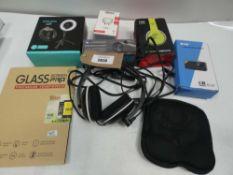 Bag containing headsets, headphones, selfie light, DAB radio, monocular scope