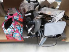 Box and bag containing various pans and toaster