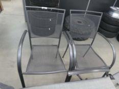 2 steel mesh stacking garden chairs