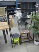 Collection of items incl. clothes rail, wooden stool and 2 plastic stools