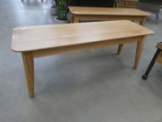 Heavy oak coffee table on turned supports