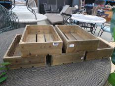 5 wooden storage boxes